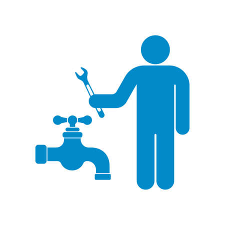 Plumbing work symbol icon vector illustration Illustration