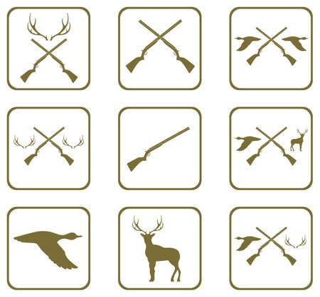 Hunting shot gun icons set. Vector illustration
