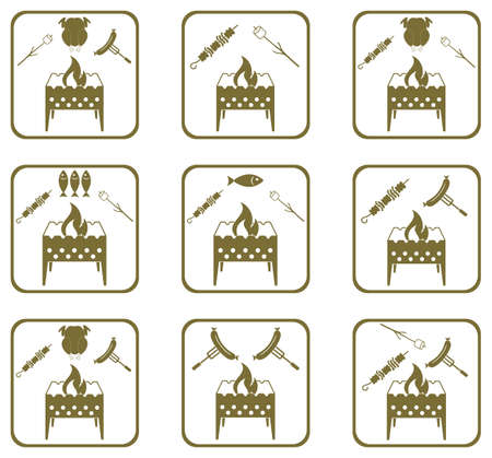 Set of Braziercooking  icons. Vector illustration Stock Vector - 82263481