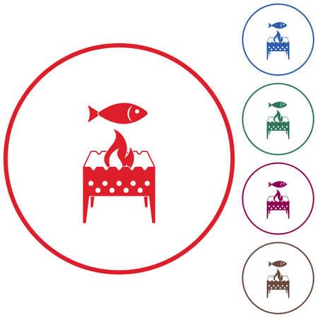 brazier grill avec l & # 39 ; icône de poissons . vector illustration
