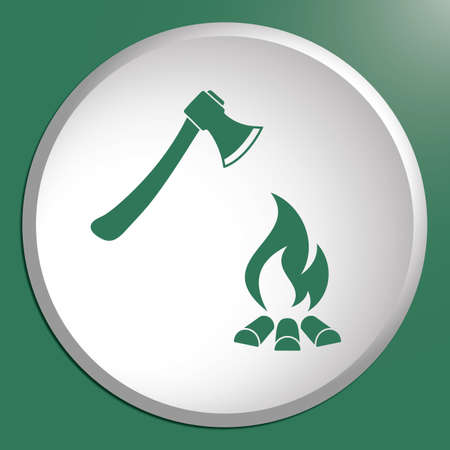 The ax and campfire icon. Flat Vector illustration Çizim