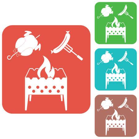 Brazier, poulet, et saucisse icône vector illustration