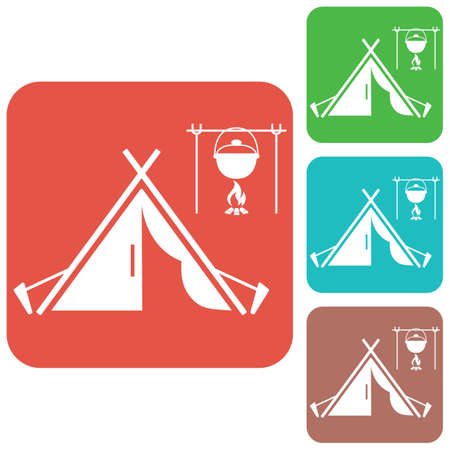 Stylized icon of tourist tent vector illustration