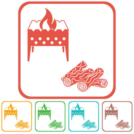 Brazier and firewood icon Vector illustration Illustration
