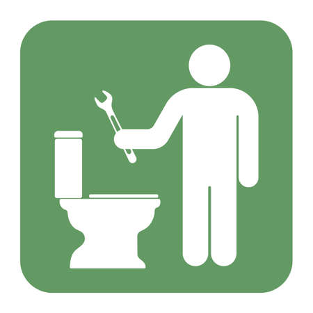Plumbing work symbol icon. Vector illustration