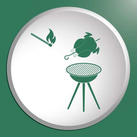 Barbecue avec l'icône de poulet. Vector illustration