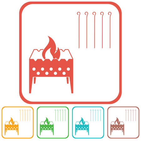 Camping Brazier icon. Vector illustration Stock Vector - 82946535