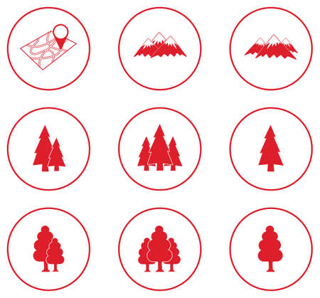 Set of forest and mountains icons. Vector illustration