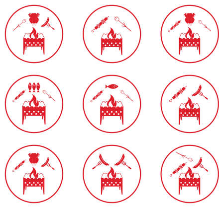 Set of Brazier Cooking  icons. Vector illustration.
