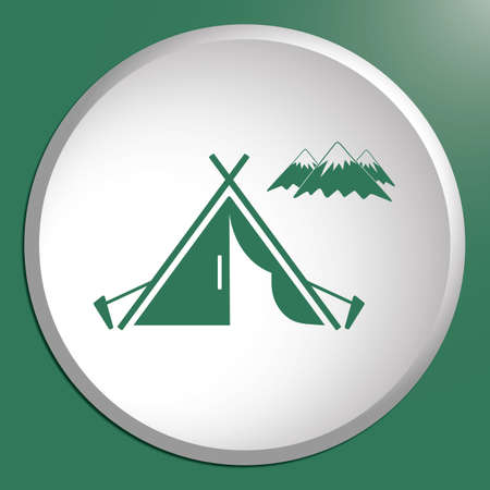 Stylized icon of tourist tent. Illustration