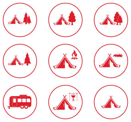 Set of tylized icons of tourist tent. Vector illustration