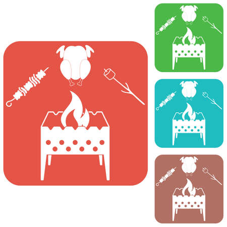 Brazier zephyr, kebab and chicken icon. Vector illustration
