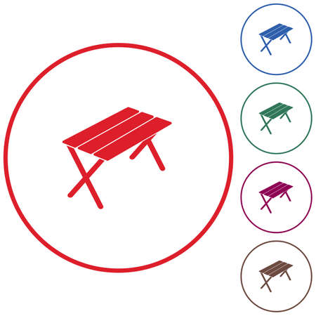 Camping table icon. Vector illustration Illustration