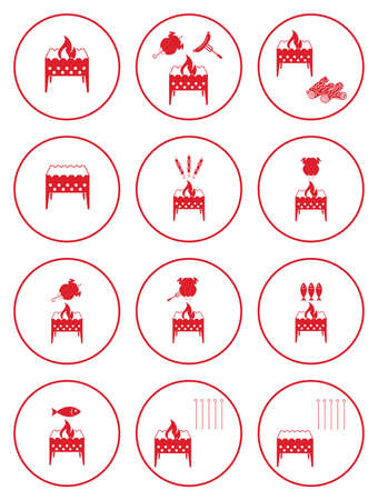 Set of barbecue icons. Vector illustration Stock Vector - 83482029