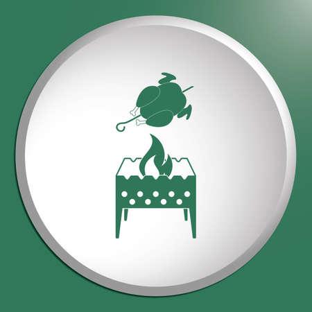 Brazier and chicken icon. Vector illustration Stock Vector - 83445629