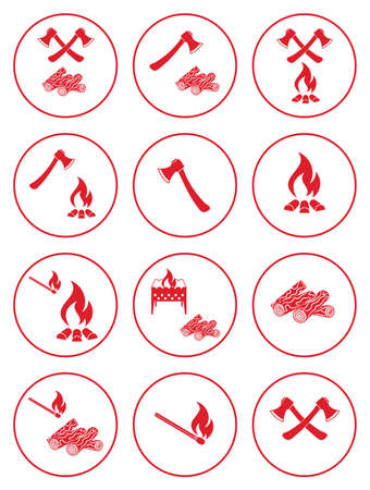 Firewood, ax and matches icons. Vector illustration Illustration