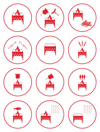 Set of barbecue icons. Vector illustration