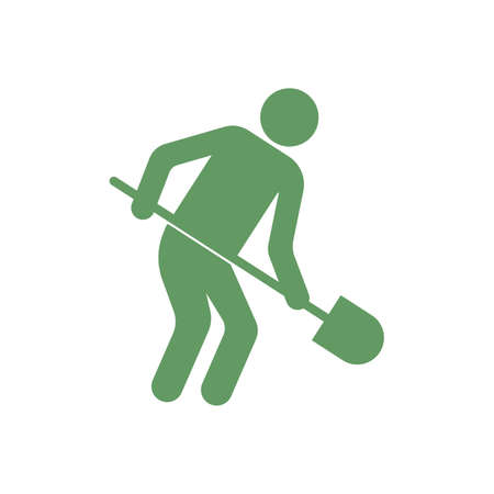 Digger with shovel icon. Vector illustration Illustration