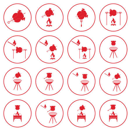 Set of barbecue icons. Illustration