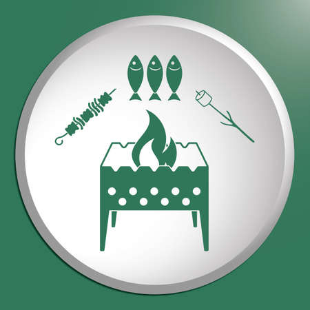 Brazier zephyr, kebab and fish icon. Illustration