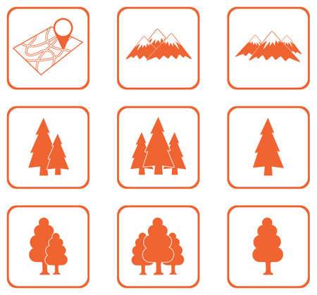 Set of forest and mountains icons.