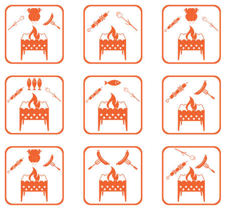 Set of Braziercooking  icons. Vector illustration