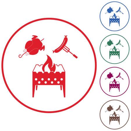Icône de brasero, poulet et saucisse.