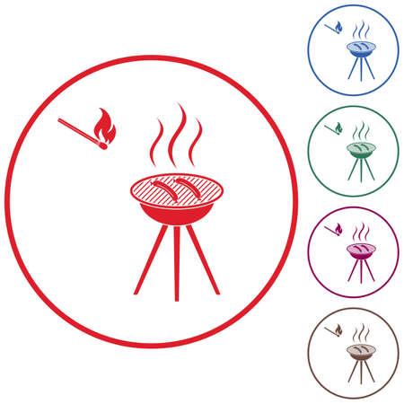 Barbecue sausage icon. Stock Vector - 84078528