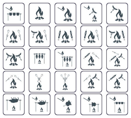 Set of coocing on campfire icons. Illustration