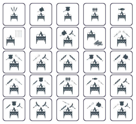 Set of coocing on brazier icons.