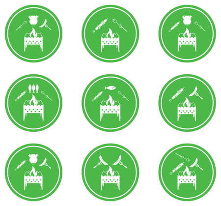 Set of Brazier cooking icons Vector illustration Illustration
