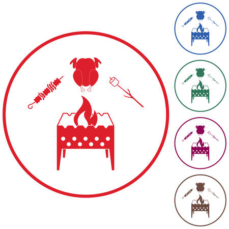 Brazier zephyr, kebab and chicken icon. Vector illustration Stock Vector - 85040564