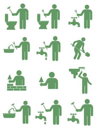 Set metselaar werknemer illustratie.