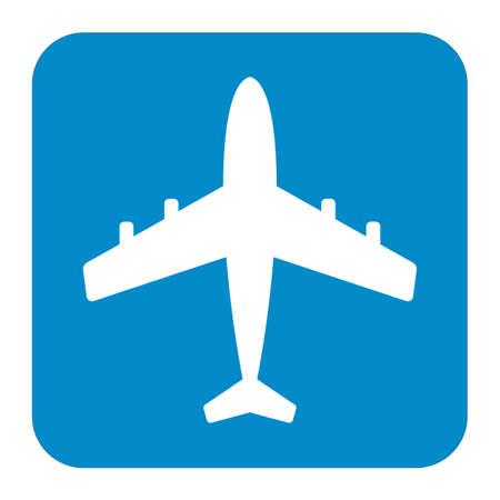 White silhouette airplane icon  illustration Illustration