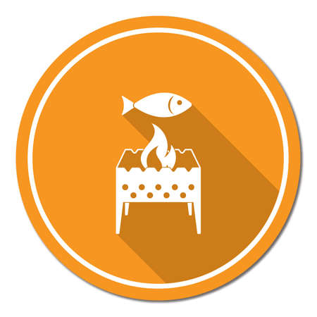 Brazier grill with fish icon. Illustration