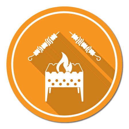 Brazier grill with kebab icon. Stock Vector - 85420827