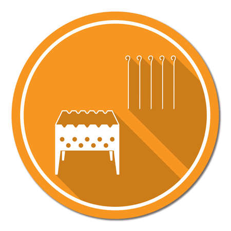 Brazier grill with skewers icon. Vector illustration Stock Vector - 86051054