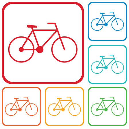 Bicycle  bike icon in different color illustration.