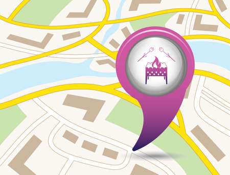 Brazier and zephyr icon. Vector illustration  Symbol on the map pointer