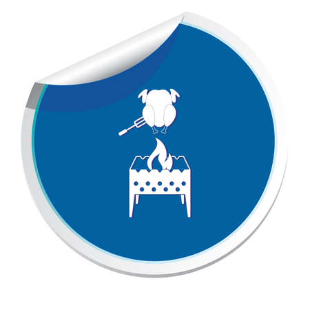 Brazier and chicken icon. Illustration