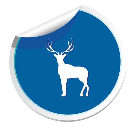 Flat deer icon. Çizim