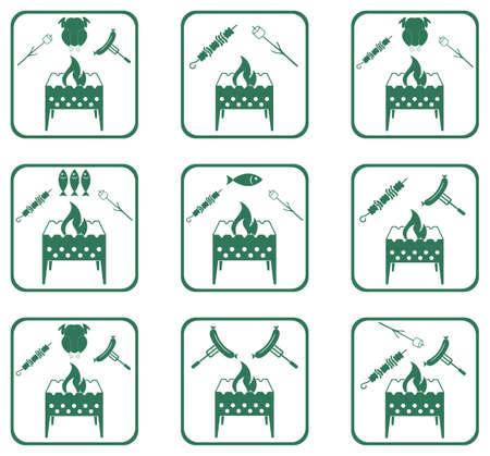 Set of Braziercooking  icons.
