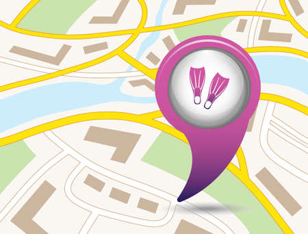 flippers: Maps pin symbol with Diving flippers icon. Illustration