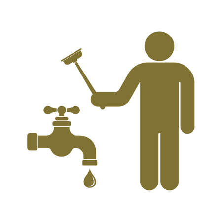 Plumbing work symbol icon on a white background. Illustration