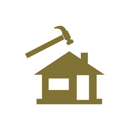 residential: A hammer and house icon on a white background. Illustration