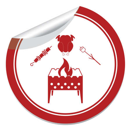 Grilled brazier zephyr, kebab and chicken icon. Illustration