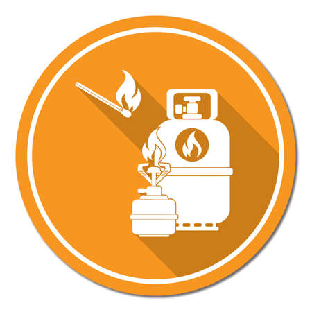 paintings: Camping stove with gas bottle icon vector. Vector illustration. Illustration