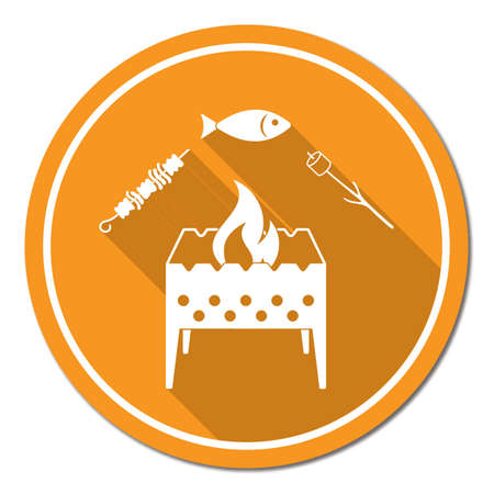 Grilled fish, zephyr, and  kebab icon. Vector illustration