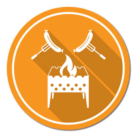 Brazier and sausage icon.