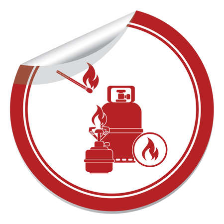 Camping stove with gas bottle icon.